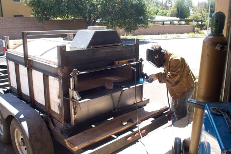 welding exterior frame of hearth
